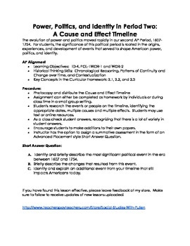 APUSH- Political Theme Cause and Effect Timeline- Era 2 revised 2014-2015 exam