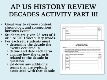 APUSH Review - Decades Activity Part III
