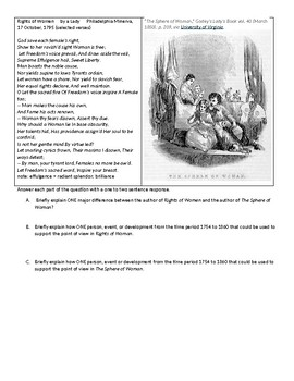 APUSH SARs on late Colonial Women and Early Republic