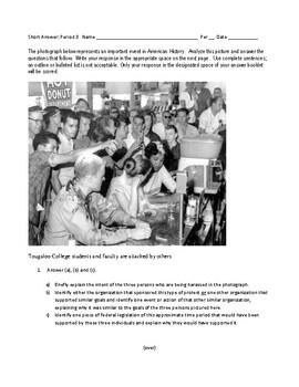 APUSH Short Answer, 1963 Sit-in Demonstration