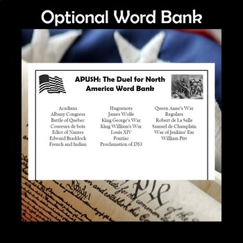 APUSH The Duel for North America Vocabulary Review Crossword