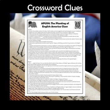 APUSH The Planting of English America Vocabulary Crossword Review