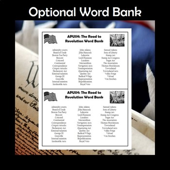 APUSH The Road to Revolution Vocabulary Crossword Review