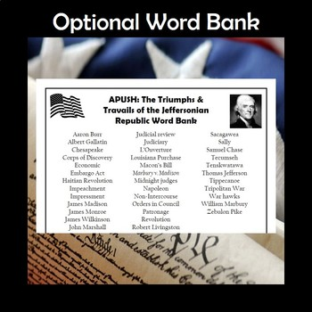 APUSH The Triumphs & Travails of the Jeffersonian Republic Vocabulary Crossword
