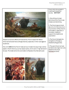 APUSH Time Period #1  [1491 to 1607] Student Notes