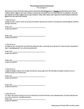 APUSH Writing Analytical Statements - Roaring 20s