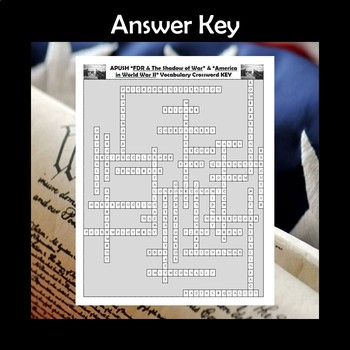 APUSHistory Vocab Review FDR & the Shadow of War & America in WWII Crossword