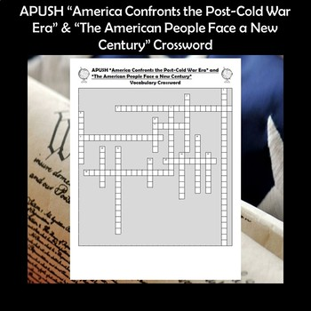 APUSH Post-Cold War Era and the New Century Vocabulary Review Crossword