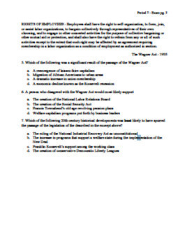 AP US History Period 7 Stimulus Based Multiple Choice Short Answer Test Bank