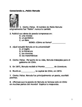 AP/Upper level Spanish: Neruda