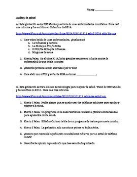 AP/Upper level Spanish health audios with questions