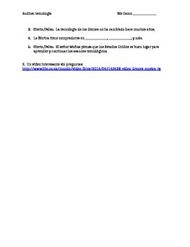 AP/Upper level Spanish technology audios with questions