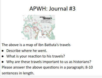 APWH AP World History Warm Ups Journals/Drills Semester B