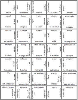 APprenons AP French book Ch. 1 Vocabulary Puzzle