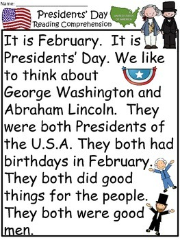 A+Presidents' Day Comprehension: Differentiated Instruction For Guided Reading