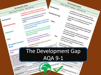 AQA 9-1 GCSE Geography - Development Gap Key Vocabulary Revision Activity Sheet