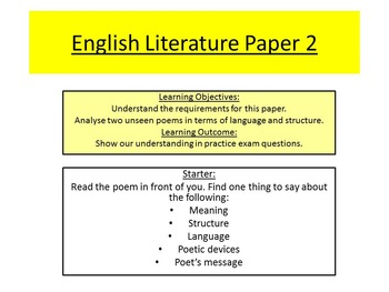 Aqa English Literature Paper  Unseen Poetry By Sae  Tpt Aqa English Literature Paper  Unseen Poetry