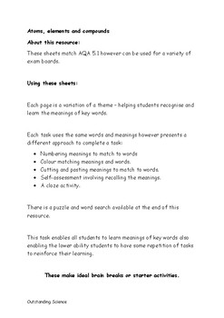 AQA GCSE Chemistry: Atoms, elements and compounds: Literacy