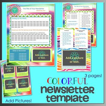 COLORFUL theme - Newsletter Template - Word