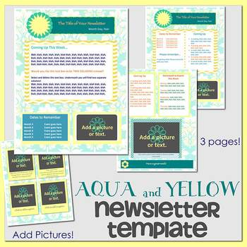 AQUA AND YELLOW theme - Newsletter Template - Word
