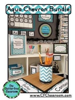 AQUA CHEVRON Classroom Decor - EDITABLE Clutter-Free Classroom Decor BUNDLE