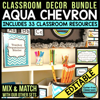 AQUA CHEVRON Classroom Decor EDITABLE