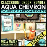 AQUA Classroom Decor CHEVRON, EDITABLE