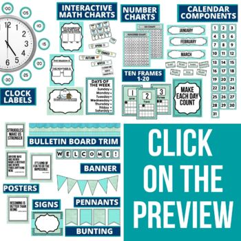 AQUA MODERN PATTERN Classroom Decor-EDITABLE Clutter-Free Classroom Decor BUNDLE