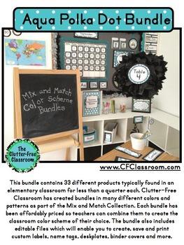 AQUA Classroom Decor POLKA DOT, EDITABLE