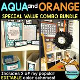 AQUA and ORANGE Polka Dots Classroom Decor EDITABLE