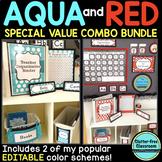 AQUA and RED Polka Dots Classroom Decor EDITABLE