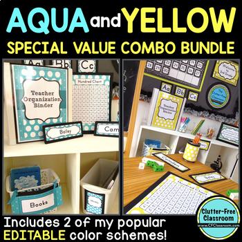 AQUA and YELLOW Classroom Decor EDITABLE