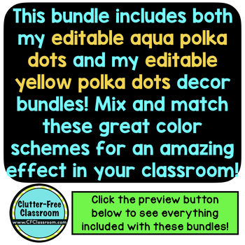 AQUA and YELLOW Classroom Decor Bundle EDITABLE