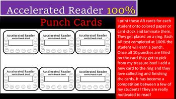 AR 100% Punch Cards- Great Motivators!