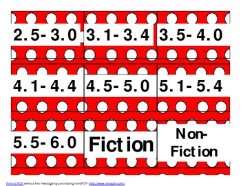 AR/ A-Z book bin labels