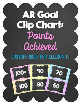 AR (Accelerated Reader) Clip Chart - Custom Order for Allison