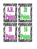AR Accelerated Reader Points Clip Chart Zebra