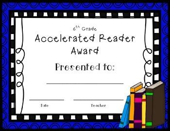 Accelerated Reader AR Award 6th Grade