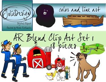 AR Blend Phonics Clip Art Set 1 - Color and Line Art 18 pc set