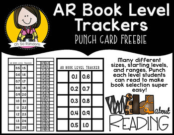 AR Book Level Tracker Punch Cards {FREEBIE}