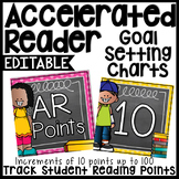 AR Points Clip Chart by 10's {Editable} - Chalkboard & Polka Dots