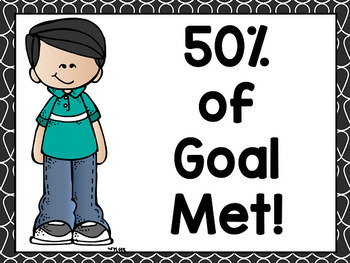 Reading Clip Chart: Editable Percent of Goal Met (Black and White Edition)