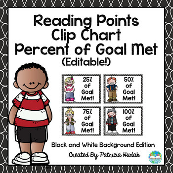 Reading Clip Chart: Editable Percent of Goal Met (Black an