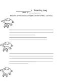 Accelerated Reader AR Set - letter home, book mark, log, book report Grade 2-4