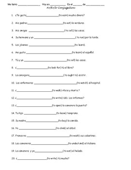 AR IR ER verb conjugation practice 2