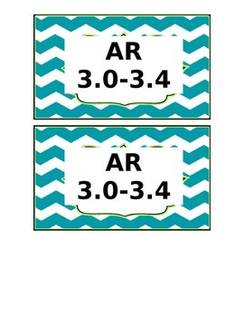 Chevron Teal AR Labels for Library Bins EDITABLE