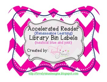 AR Library Bin Labels (Renaissance Learning) Nautical blue and pink