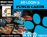 AR Login Cards, PUNCH Cards, & Brag Tags~ PAW PRINTS~ Color & BW