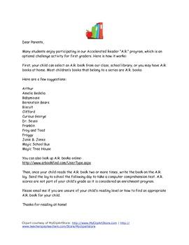 A.R. Program (Letter to Parents)