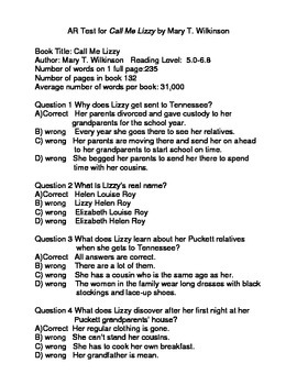 AR Quiz for Call Me Lizzy by Mary T. Wilkinson